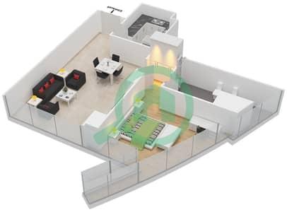 المخططات الطابقية لتصميم النموذج T2-1C شقة 1 غرفة نوم - أبراج الإتحاد