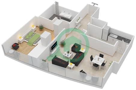 المخططات الطابقية لتصميم النموذج T2-1B شقة 1 غرفة نوم - أبراج الإتحاد