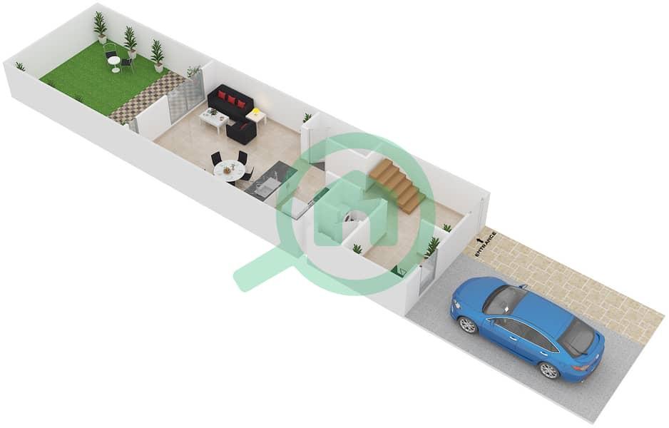 المخططات الطابقية لتصميم النموذج A فیلا 2 غرفة نوم - فلل الريف Ground Floor 3D