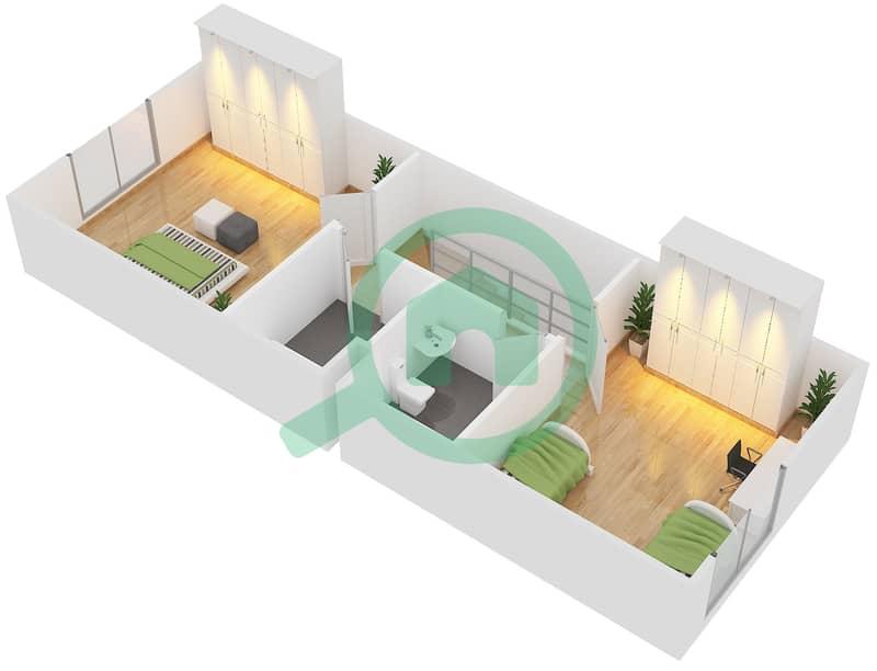 المخططات الطابقية لتصميم النموذج A فیلا 2 غرفة نوم - فلل الريف First Floor 3D
