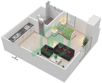 Al Reef Tower - Studio Apartment Type SE-G Floor plan