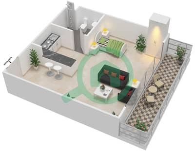 Al Reef Tower - Studio Apartment Type SD-T Floor plan