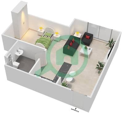 Al Reef Tower - Studio Apartment Type SB-G Floor plan