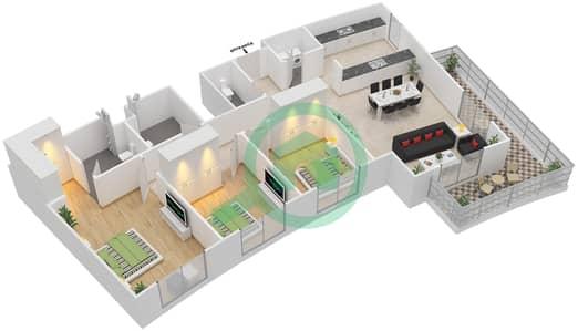 المخططات الطابقية لتصميم النموذج 3H-T شقة 3 غرف نوم - الریف داون تاون
