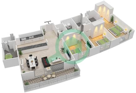 المخططات الطابقية لتصميم النموذج 3G-T شقة 3 غرف نوم - الریف داون تاون