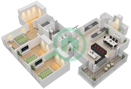 المخططات الطابقية لتصميم النموذج 3C-T شقة 3 غرف نوم - الریف داون تاون