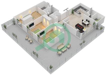 المخططات الطابقية لتصميم النموذج 3F-G شقة 3 غرف نوم - الریف داون تاون