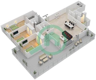 المخططات الطابقية لتصميم النموذج 3E-G شقة 3 غرف نوم - الریف داون تاون
