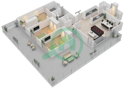 المخططات الطابقية لتصميم النموذج 3D-G شقة 3 غرف نوم - الریف داون تاون
