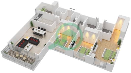 المخططات الطابقية لتصميم النموذج 3B-T شقة 3 غرف نوم - الریف داون تاون