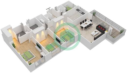 المخططات الطابقية لتصميم النموذج 3A-T شقة 3 غرف نوم - الریف داون تاون