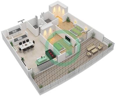 المخططات الطابقية لتصميم النموذج 2G-G شقة 2 غرفة نوم - الریف داون تاون