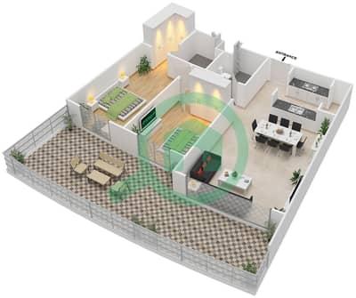 المخططات الطابقية لتصميم النموذج 2F-G شقة 2 غرفة نوم - الریف داون تاون