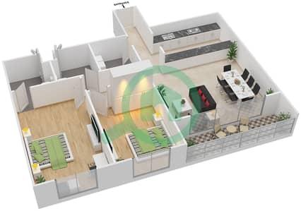 المخططات الطابقية لتصميم النموذج 2B-T شقة 2 غرفة نوم - الریف داون تاون