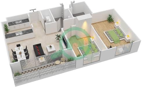 المخططات الطابقية لتصميم النموذج 2D-T شقة 2 غرفة نوم - الریف داون تاون