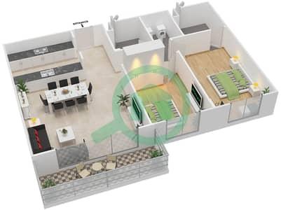 المخططات الطابقية لتصميم النموذج 2A-T شقة 2 غرفة نوم - الریف داون تاون