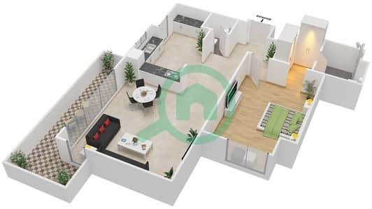 المخططات الطابقية لتصميم النموذج 1J-G شقة 1 غرفة نوم - الریف داون تاون