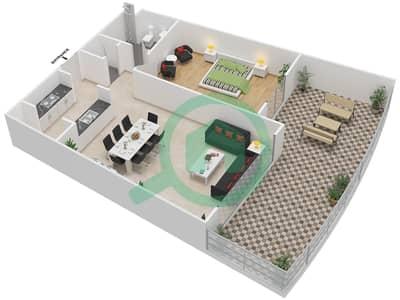 المخططات الطابقية لتصميم النموذج 1G-G شقة 1 غرفة نوم - الریف داون تاون