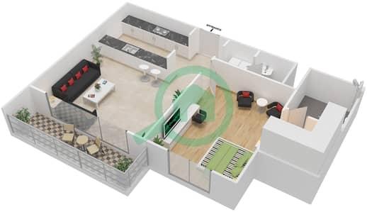 المخططات الطابقية لتصميم النموذج 1D-T شقة 1 غرفة نوم - الریف داون تاون