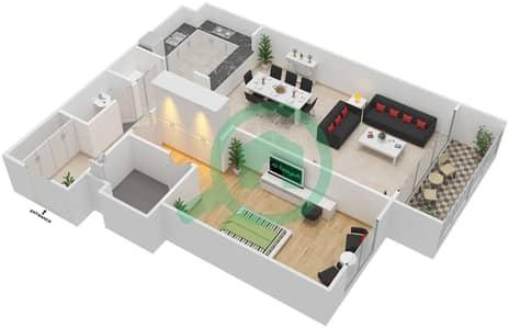 المخططات الطابقية لتصميم النموذج 1C-T شقة 1 غرفة نوم - الریف داون تاون