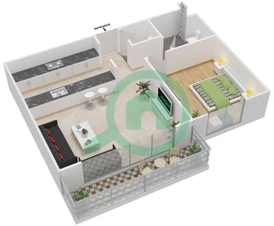 المخططات الطابقية لتصميم النموذج 1A-T شقة 1 غرفة نوم - الریف داون تاون