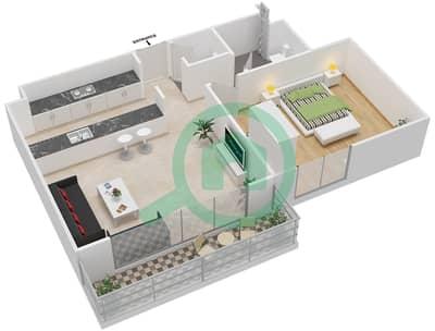 المخططات الطابقية لتصميم النموذج 1B-G شقة 1 غرفة نوم - الریف داون تاون