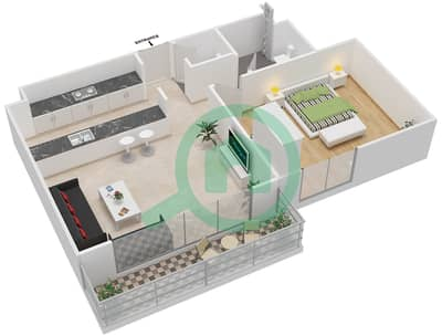 المخططات الطابقية لتصميم النموذج 1B-T شقة 1 غرفة نوم - الریف داون تاون