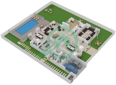 المخططات الطابقية لتصميم النموذج A فیلا 6 غرف نوم - اوركيد