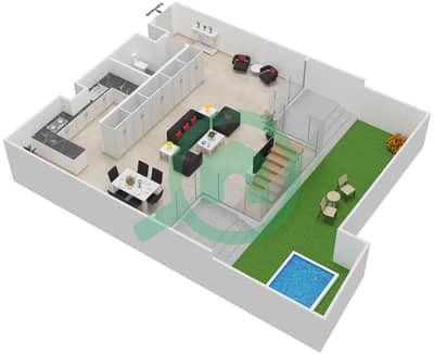 المخططات الطابقية لتصميم النموذج DUPLEX TYPE C LARGE شقة 2 غرفة نوم - الراحة لوفتس