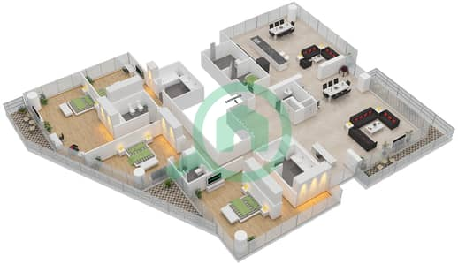 المخططات الطابقية لتصميم الوحدة 201 شقة 4 غرف نوم - البندر