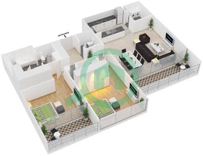 المخططات الطابقية لتصميم النموذج 2C شقة 2 غرفة نوم - المنيرة