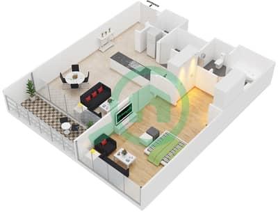 Al Muneera - 1 Bedroom Apartment Type 1D Floor plan
