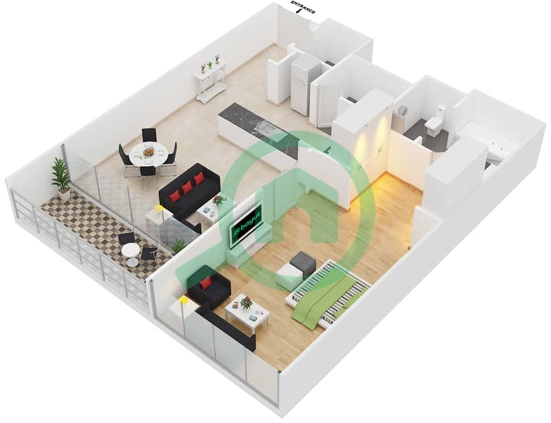 المخططات الطابقية لتصميم النموذج 1D شقة 1 غرفة نوم - المنيرة image3D