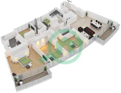 المخططات الطابقية لتصميم النموذج 4A شقة 4 غرف نوم - الرحبة