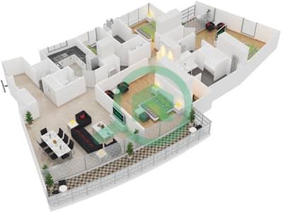 المخططات الطابقية لتصميم النموذج 3B شقة 3 غرف نوم - الرحبة