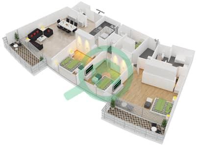 المخططات الطابقية لتصميم النموذج 3A شقة 3 غرف نوم - الرحبة