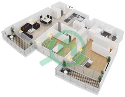 المخططات الطابقية لتصميم النموذج 2A شقة 2 غرفة نوم - الرحبة