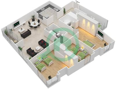 Rawdhat Abu Dhabi - 3 Bedroom Apartment Type A Floor plan