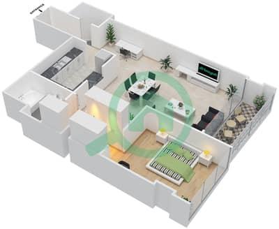 المخططات الطابقية لتصميم النموذج B شقة 1 غرفة نوم - روضة أبوظبي
