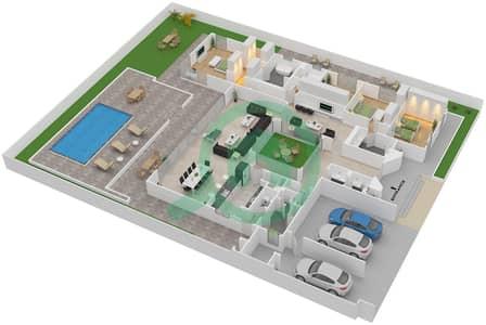 المخططات الطابقية لتصميم النموذج A BUNGALOW فیلا 4 غرف نوم - تلال الغاف