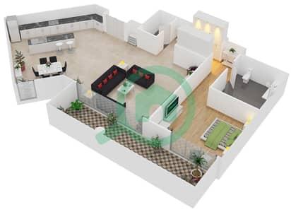 المخططات الطابقية لتصميم النموذج / الوحدة D/104 شقة 1 غرفة نوم - منتجع شاطئ نكي