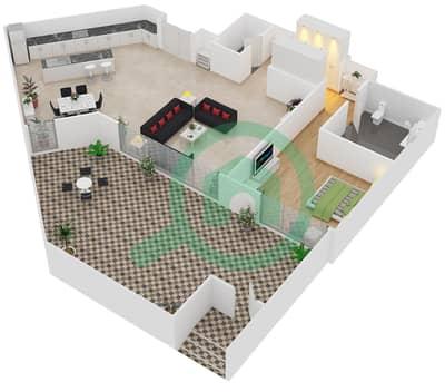 المخططات الطابقية لتصميم النموذج / الوحدة D/G04 شقة 1 غرفة نوم - منتجع شاطئ نكي