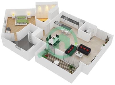المخططات الطابقية لتصميم النموذج / الوحدة C/203 شقة 1 غرفة نوم - منتجع شاطئ نكي