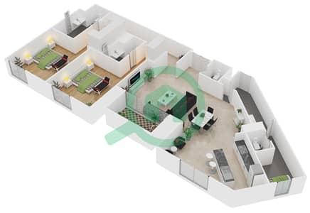 المخططات الطابقية لتصميم النموذج / الوحدة C/303, 403 شقة 2 غرفة نوم - منتجع شاطئ نكي