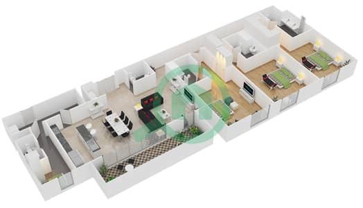 المخططات الطابقية لتصميم النموذج / الوحدة C/104,204,207,210,304,306 شقة 3 غرف نوم - منتجع شاطئ نكي