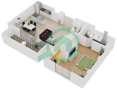 المخططات الطابقية لتصميم النموذج / الوحدة B/103,203,303 شقة 1 غرفة نوم - منتجع شاطئ نكي