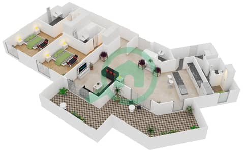 المخططات الطابقية لتصميم النموذج / الوحدة B/G03 شقة 2 غرفة نوم - منتجع شاطئ نكي