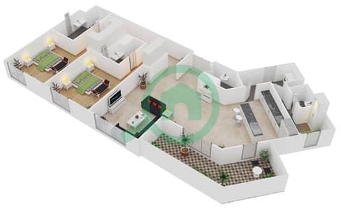 المخططات الطابقية لتصميم النموذج / الوحدة B/103 شقة 2 غرفة نوم - منتجع شاطئ نكي
