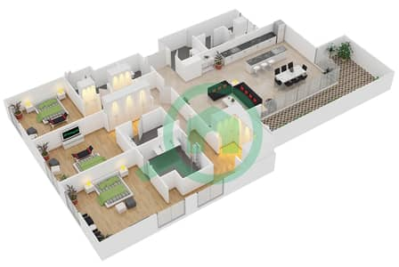 المخططات الطابقية لتصميم النموذج / الوحدة B/201,301,401 شقة 3 غرف نوم - منتجع شاطئ نكي