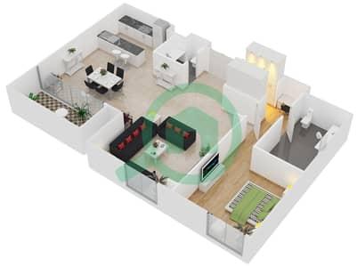 المخططات الطابقية لتصميم النموذج / الوحدة A1/202,204 شقة 1 غرفة نوم - منتجع شاطئ نكي